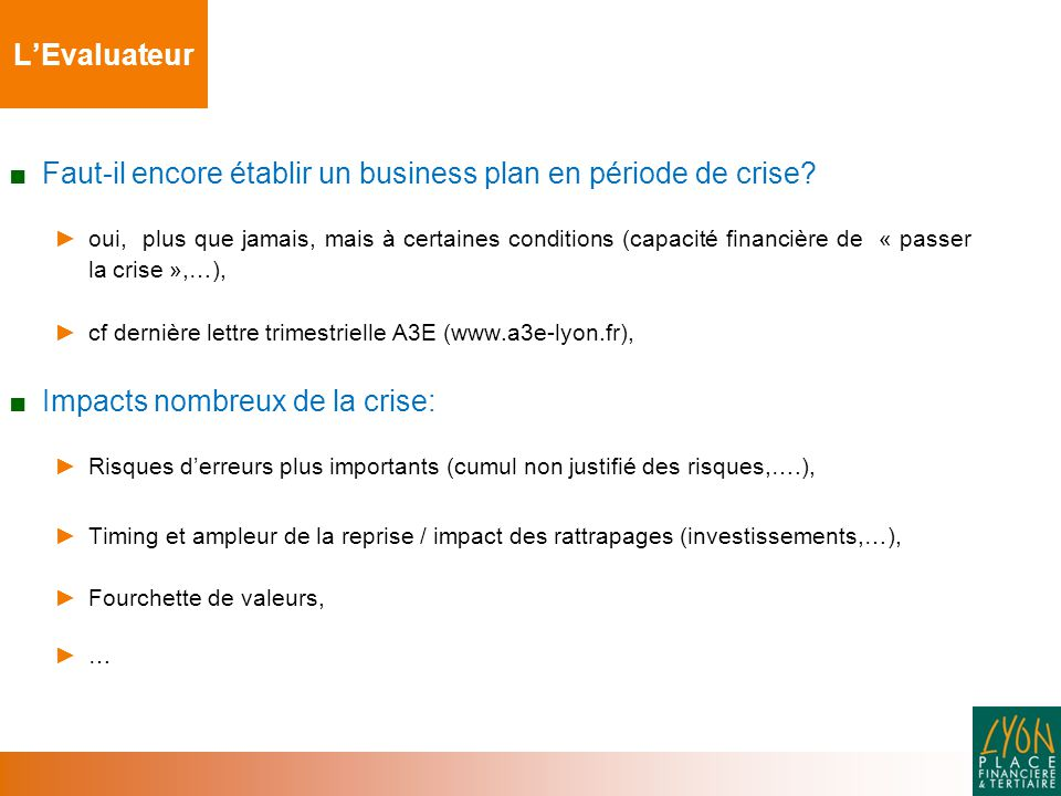 Faut-il encore établir un business plan en période de crise