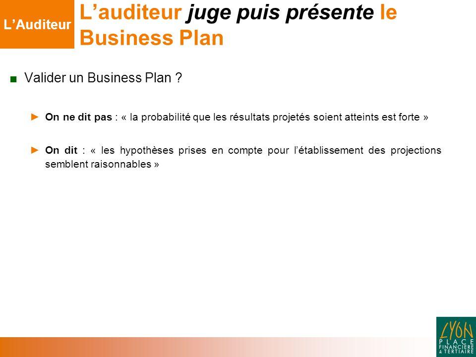 L'auditeur juge puis présente le Business Plan