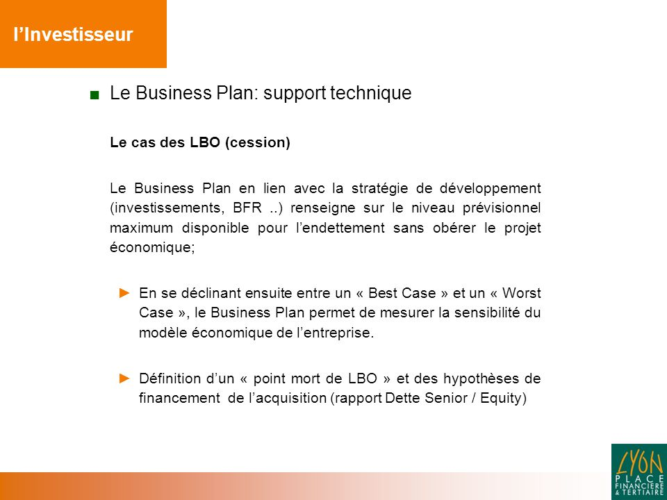 Le Business Plan: support technique