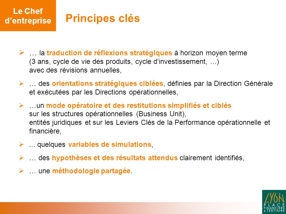 Principes clés Le Chef d'entreprise