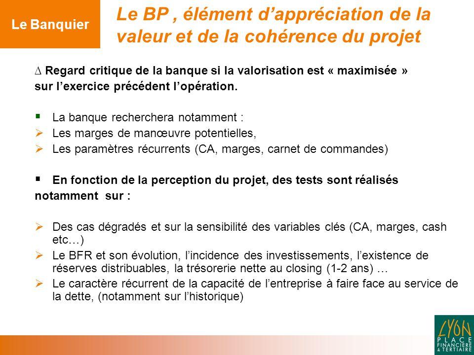 Le Banquier Le BP , élément d'appréciation de la valeur et de la cohérence du projet.