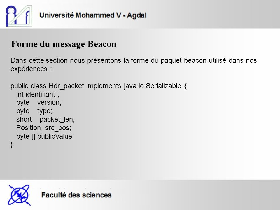 Forme du message Beacon