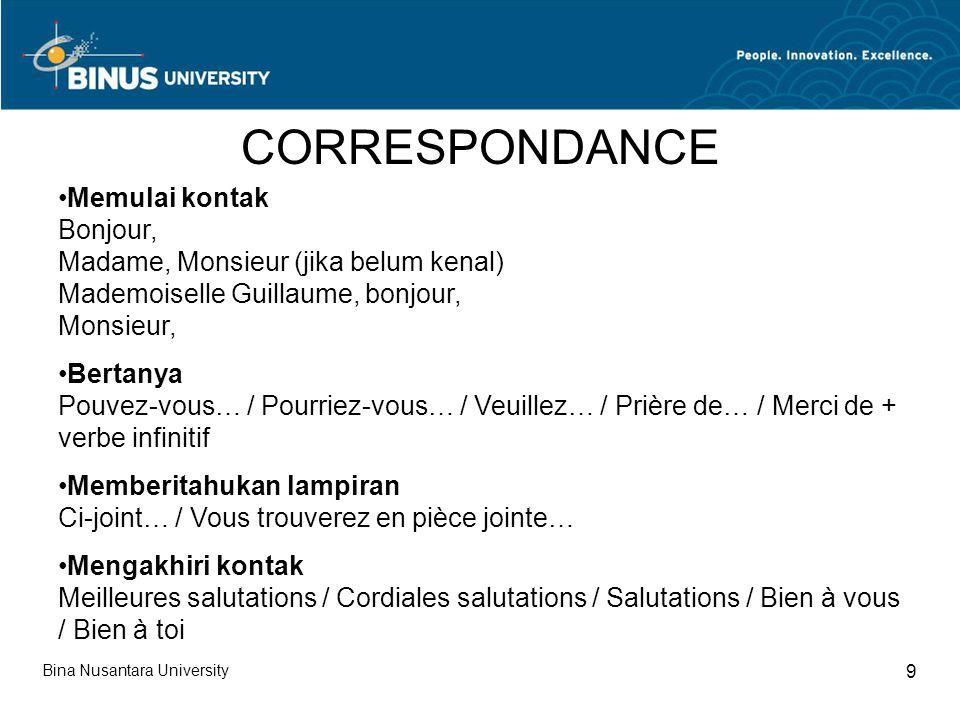 CORRESPONDANCE Memulai kontak Bonjour,