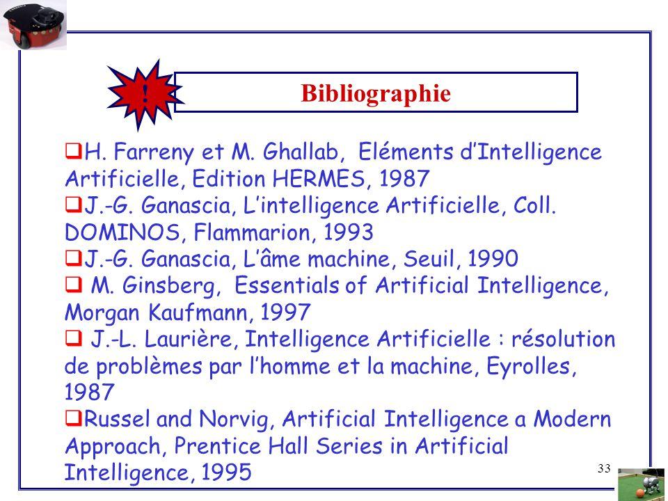 ! Bibliographie. H. Farreny et M. Ghallab, Eléments d'Intelligence Artificielle, Edition HERMES, 1987.