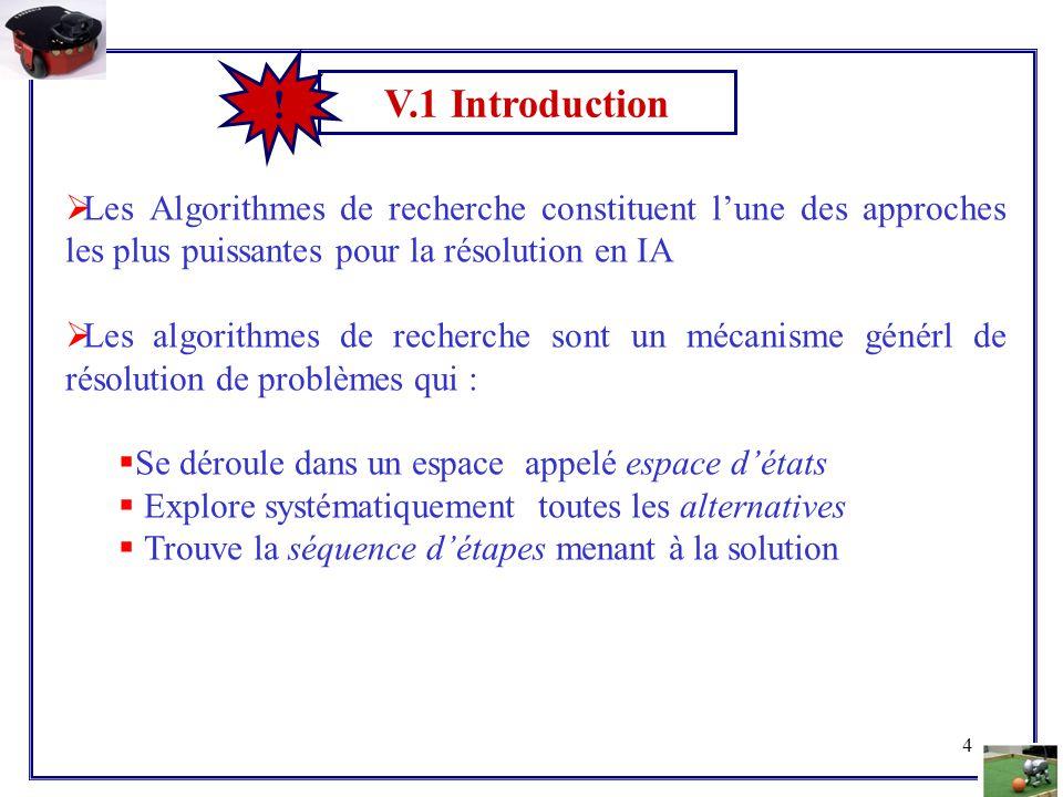 V.1 Introduction ! Les Algorithmes de recherche constituent l'une des approches les plus puissantes pour la résolution en IA.