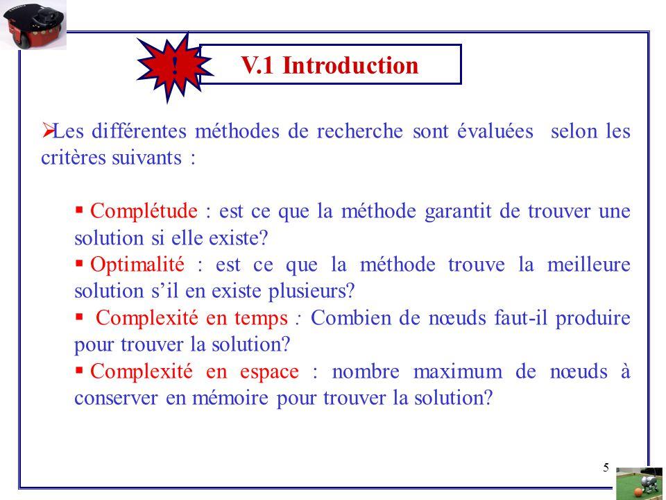 V.1 Introduction ! Les différentes méthodes de recherche sont évaluées selon les critères suivants :