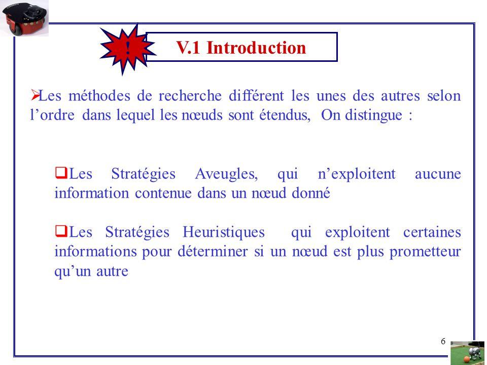 V.1 Introduction ! Les méthodes de recherche différent les unes des autres selon l'ordre dans lequel les nœuds sont étendus, On distingue :