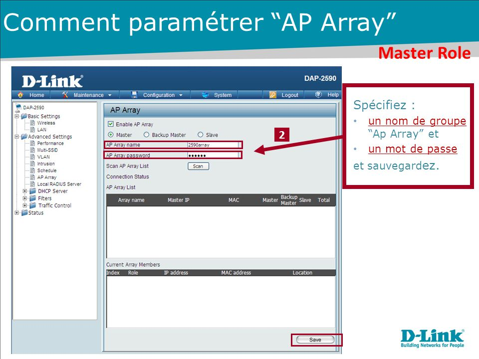 Comment paramétrer AP Array