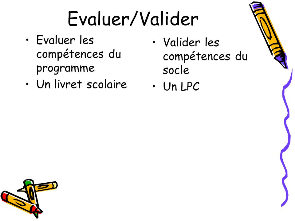 Evaluer/Valider Evaluer les compétences du programme