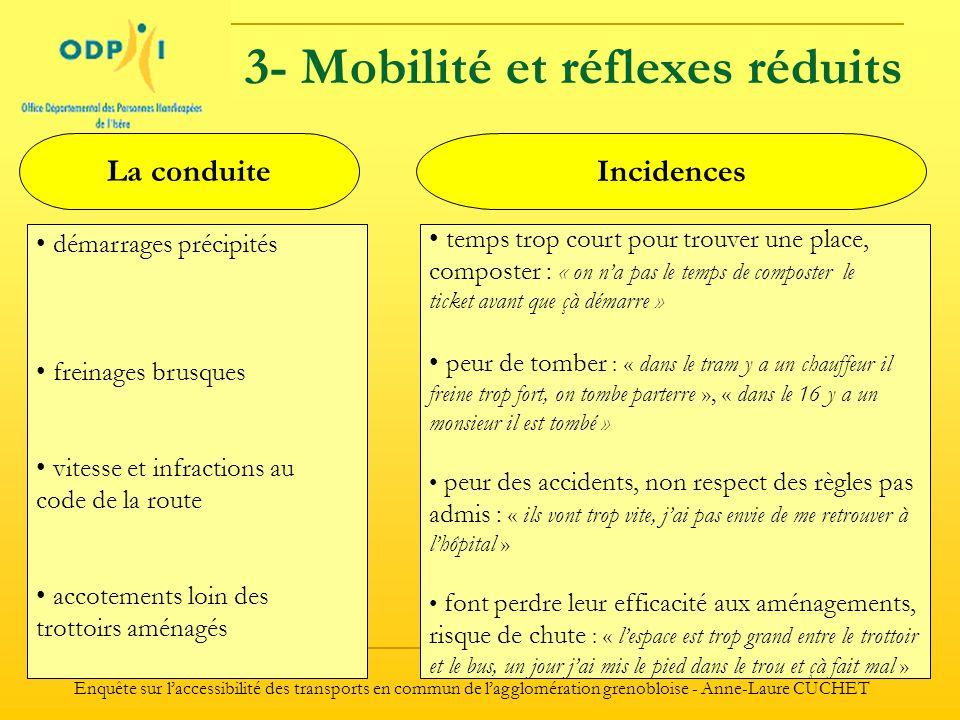 3- Mobilité et réflexes réduits