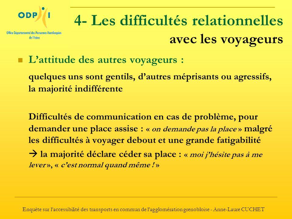 4- Les difficultés relationnelles avec les voyageurs
