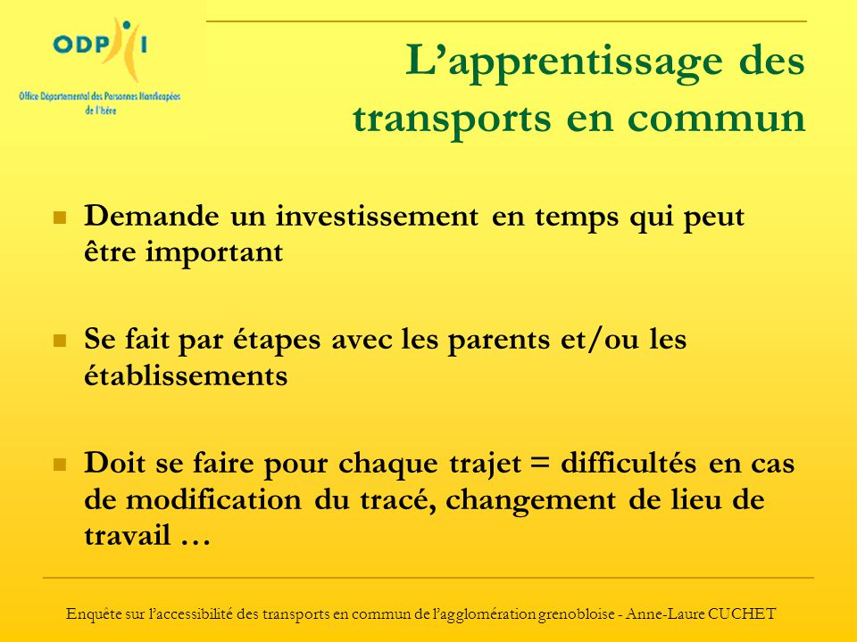 L'apprentissage des transports en commun