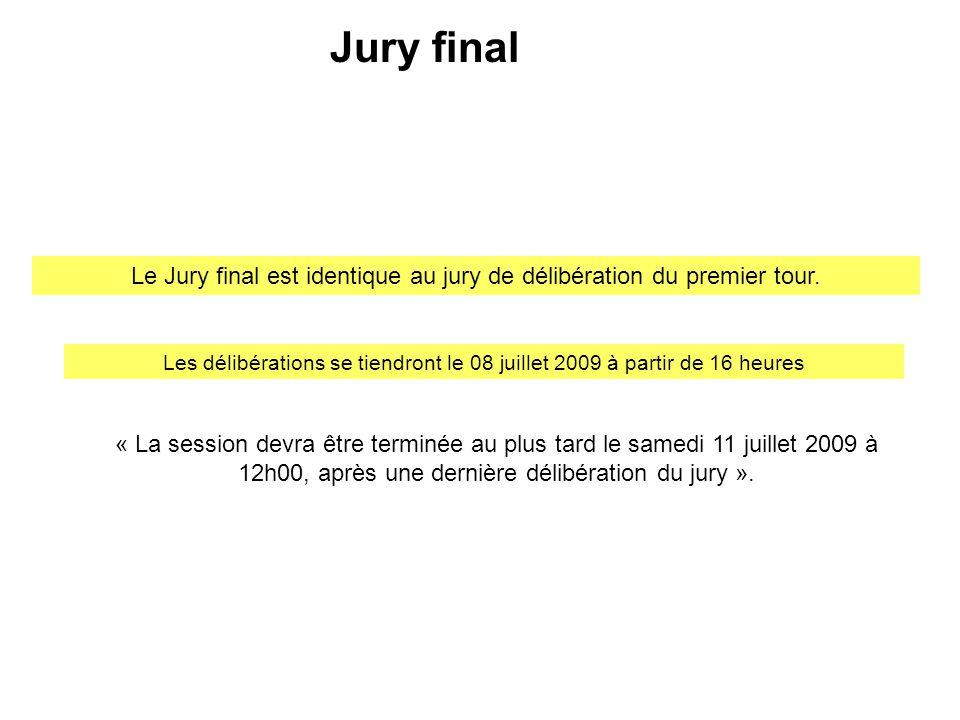 Le Jury final est identique au jury de délibération du premier tour.