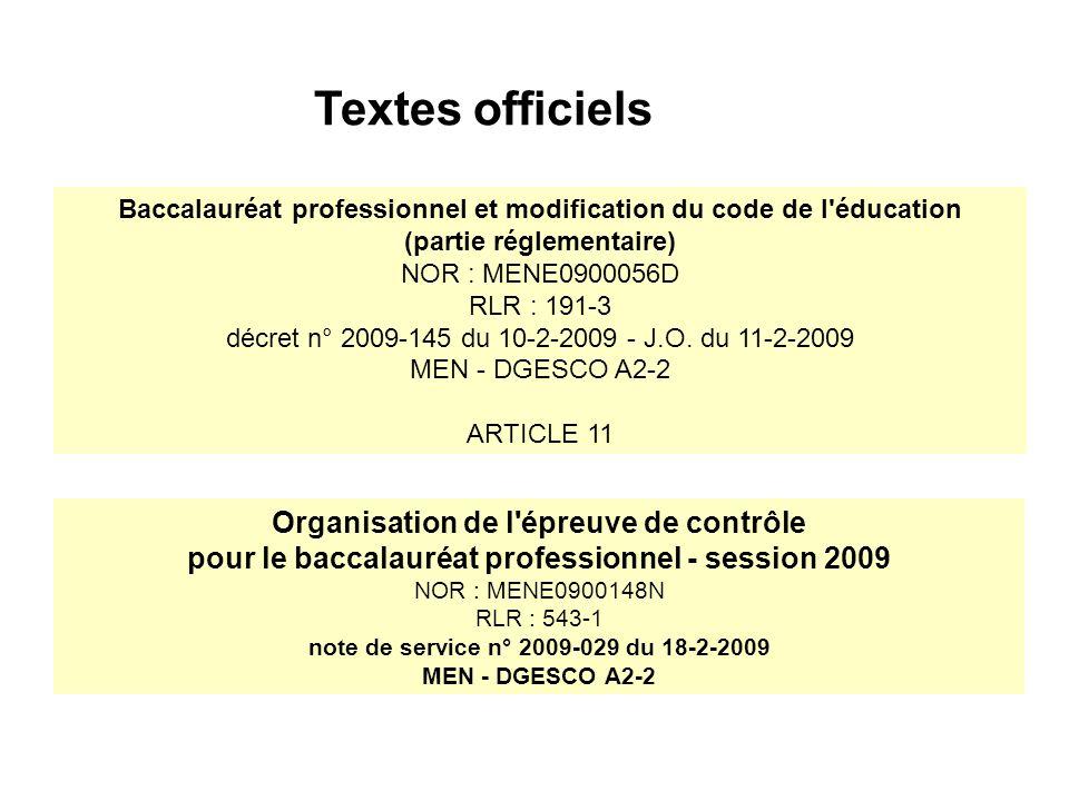 Baccalauréat professionnel et modification du code de l éducation