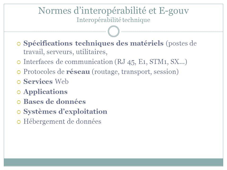 Normes d'interopérabilité et E-gouv Interopérabilité technique