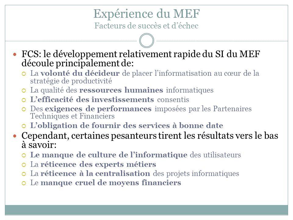 Expérience du MEF Facteurs de succès et d'échec