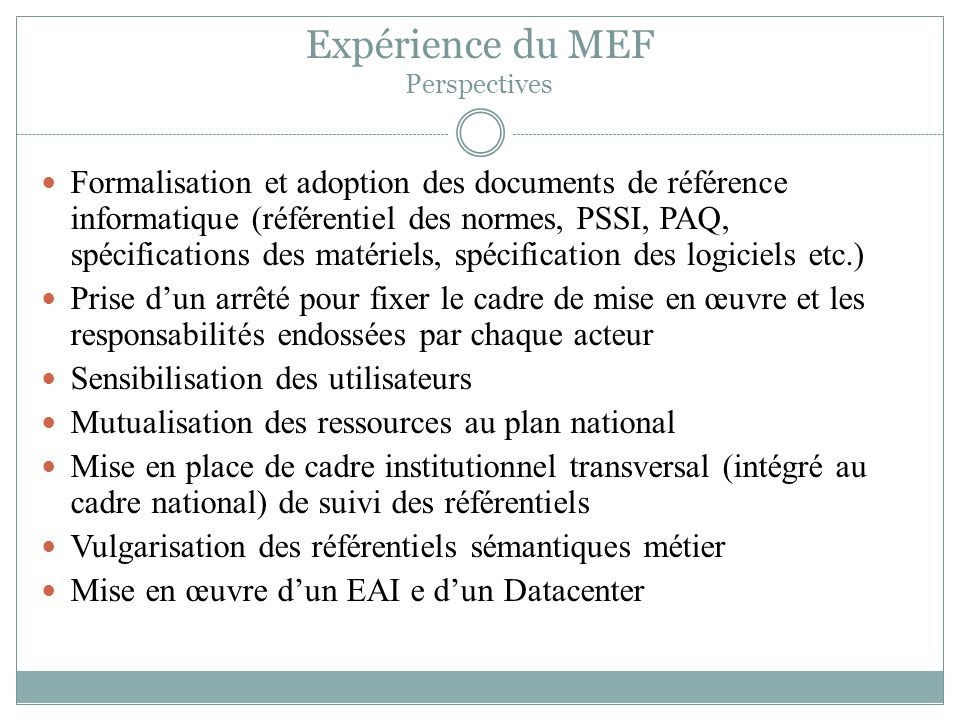 Expérience du MEF Perspectives