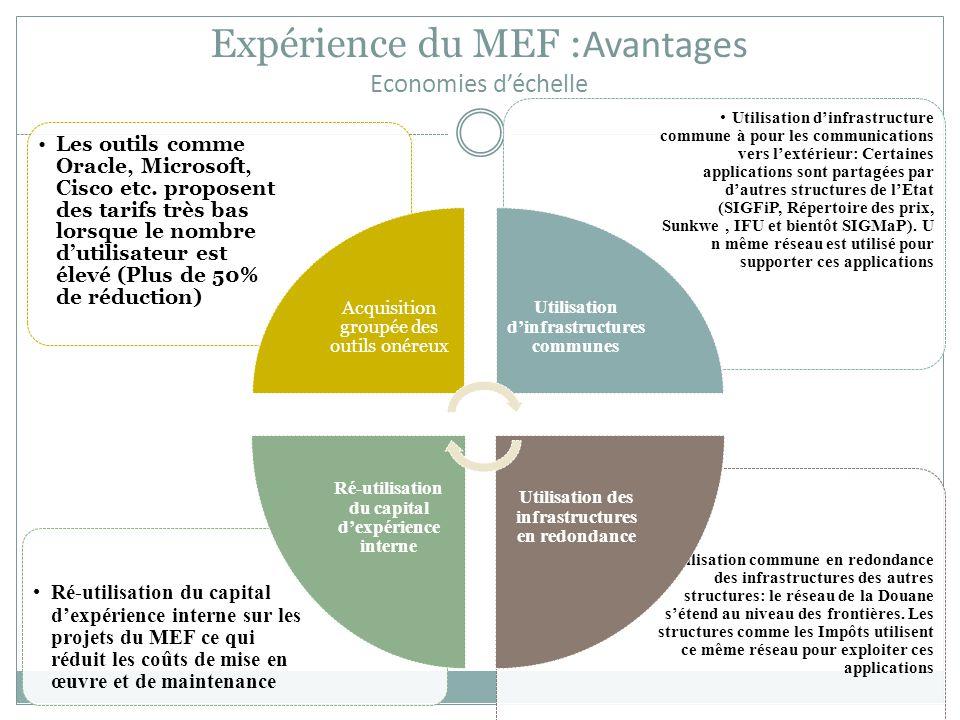 Expérience du MEF :Avantages Economies d'échelle