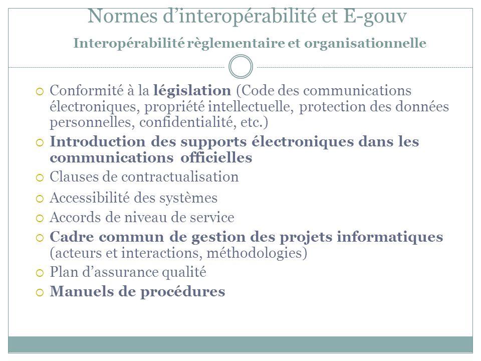 Normes d'interopérabilité et E-gouv Interopérabilité règlementaire et organisationnelle