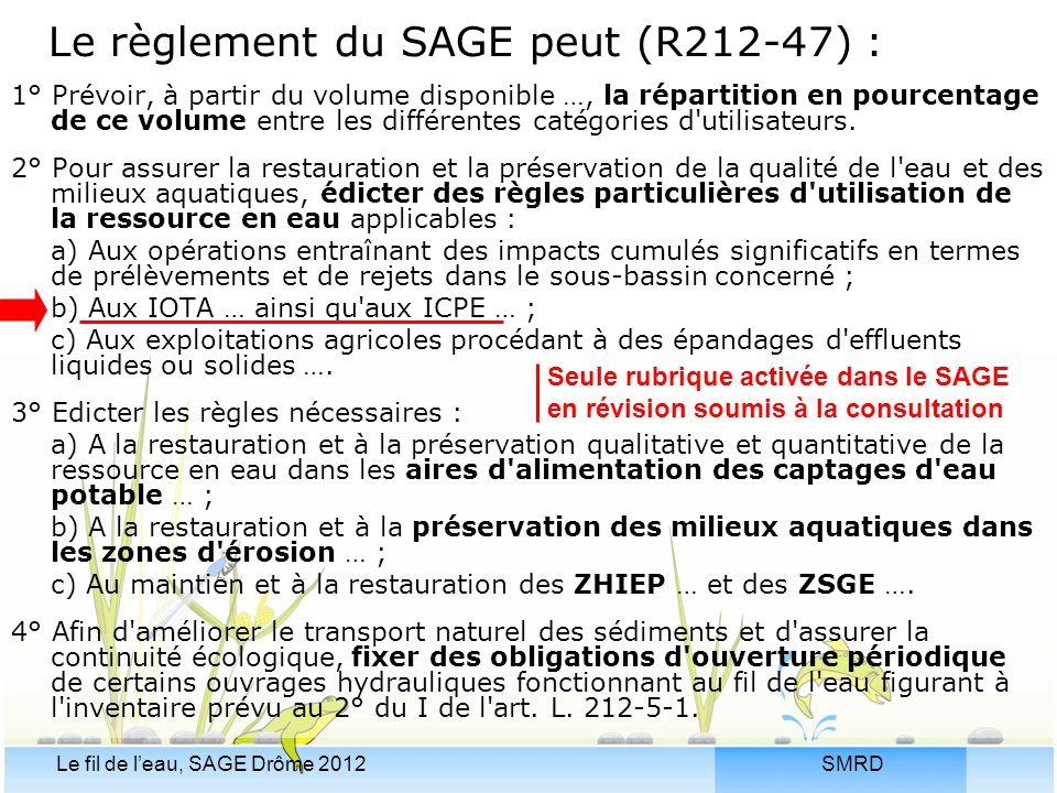 Le règlement du SAGE peut (R212-47) :