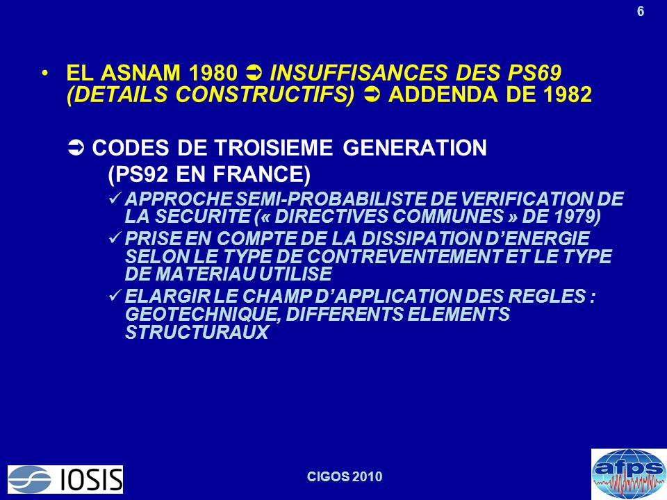  CODES DE TROISIEME GENERATION (PS92 EN FRANCE)