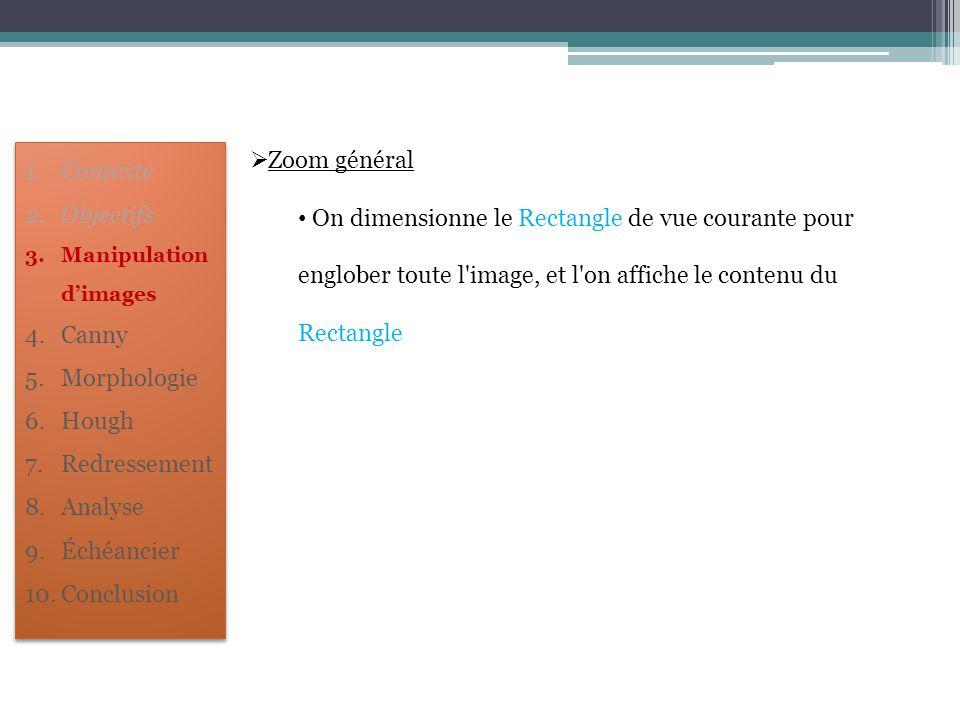 Zoom général On dimensionne le Rectangle de vue courante pour englober toute l image, et l on affiche le contenu du Rectangle.