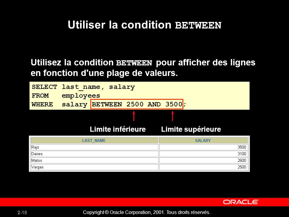 Utiliser la condition BETWEEN