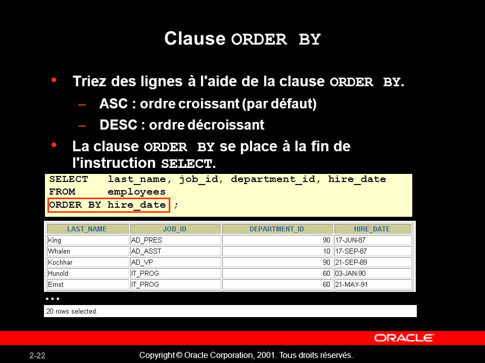 Clause ORDER BY … Triez des lignes à l aide de la clause ORDER BY.