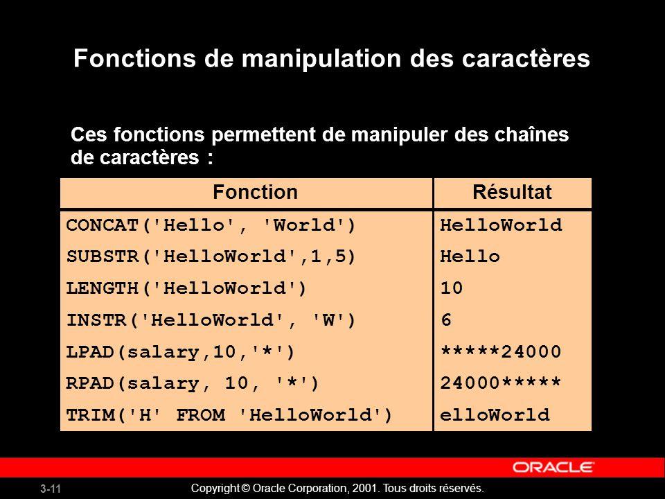 Fonctions de manipulation des caractères