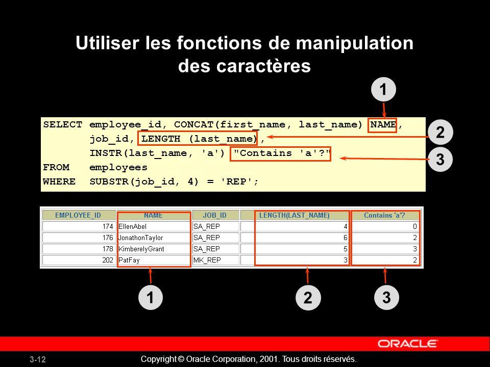Utiliser les fonctions de manipulation des caractères