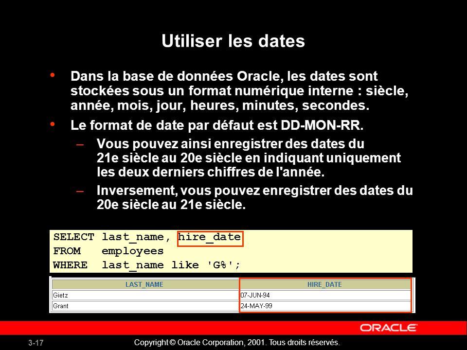 Utiliser les dates