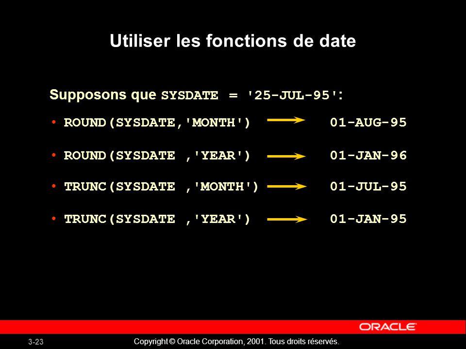 Utiliser les fonctions de date
