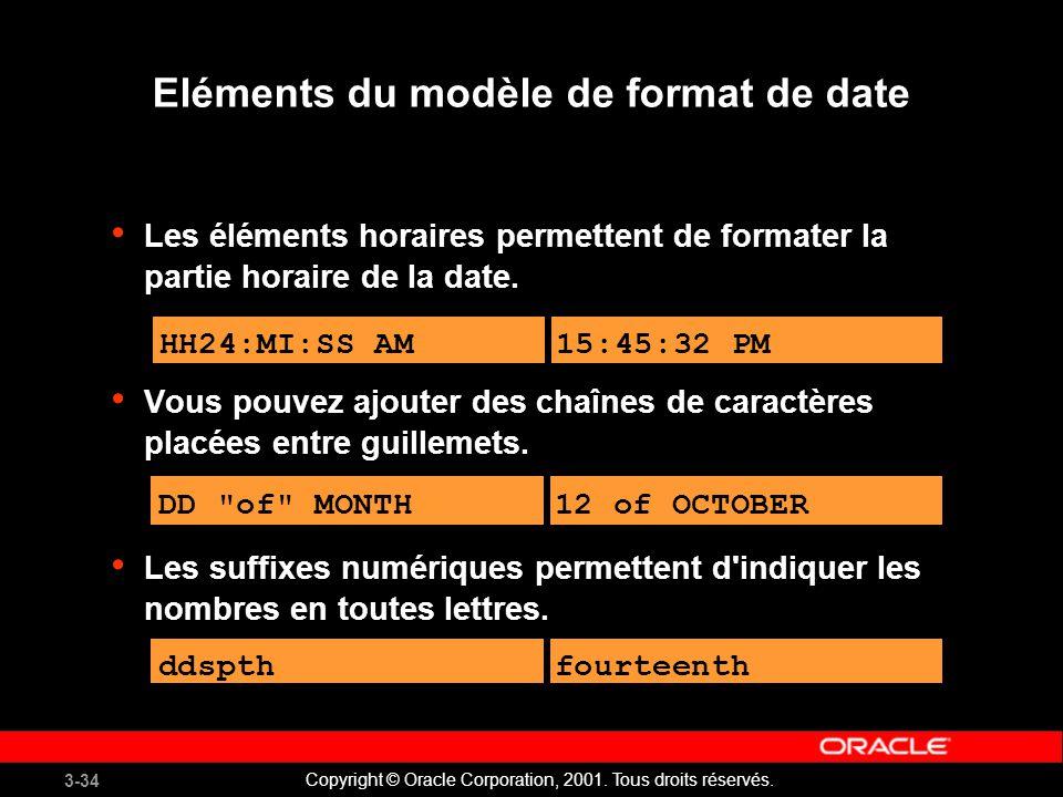 Eléments du modèle de format de date