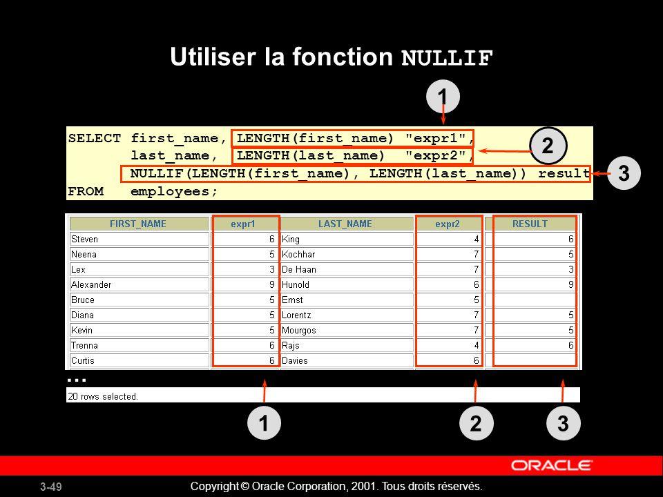Utiliser la fonction NULLIF