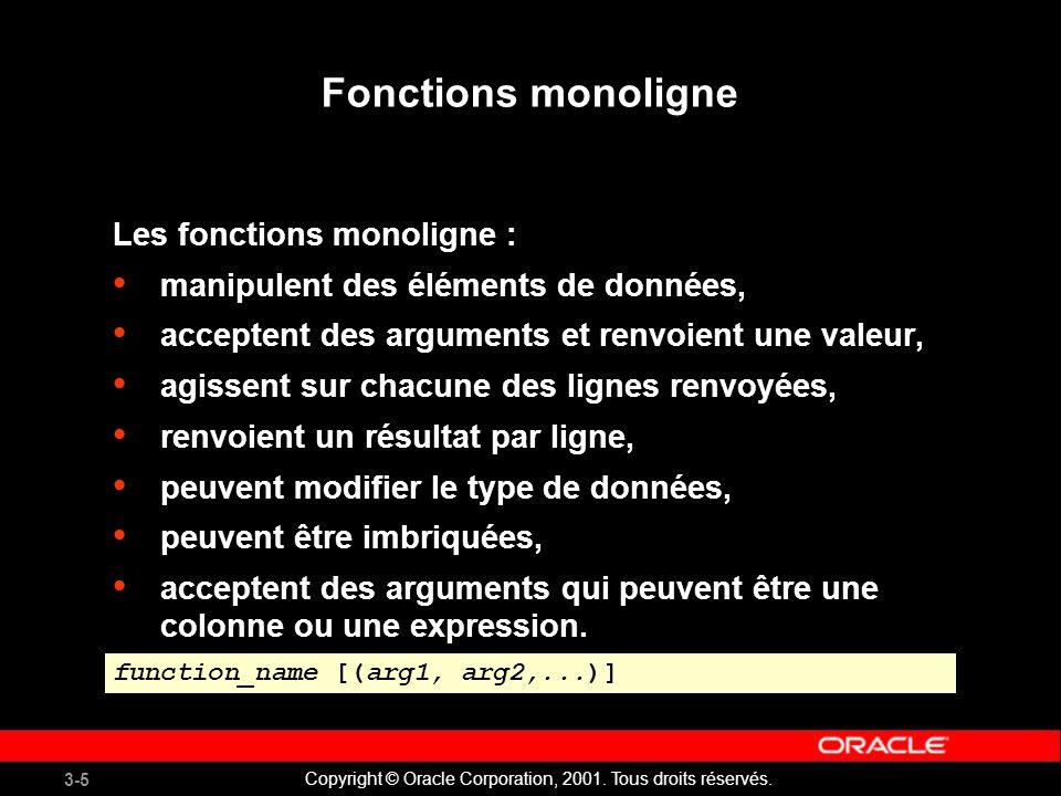 Fonctions monoligne Les fonctions monoligne :