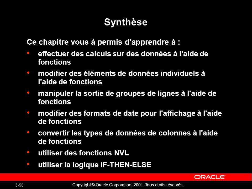 Synthèse Ce chapitre vous à permis d apprendre à :