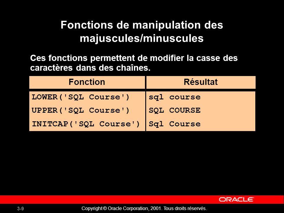 Fonctions de manipulation des majuscules/minuscules