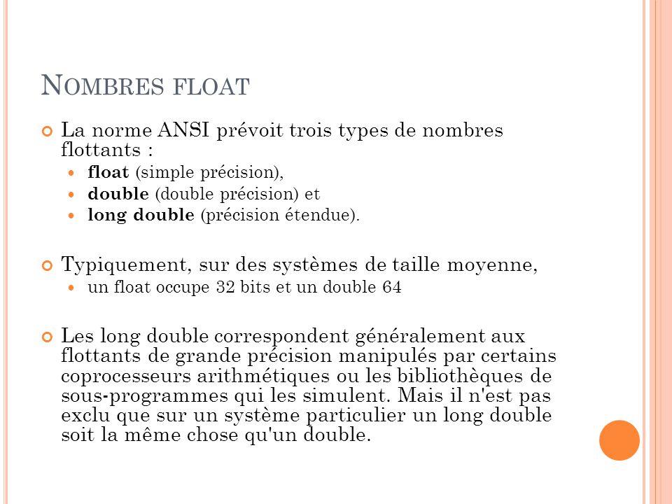 Nombres float La norme ANSI prévoit trois types de nombres flottants :