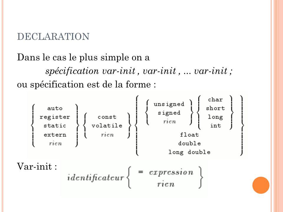 declaration Dans le cas le plus simple on a spécification var-init , var-init , ...