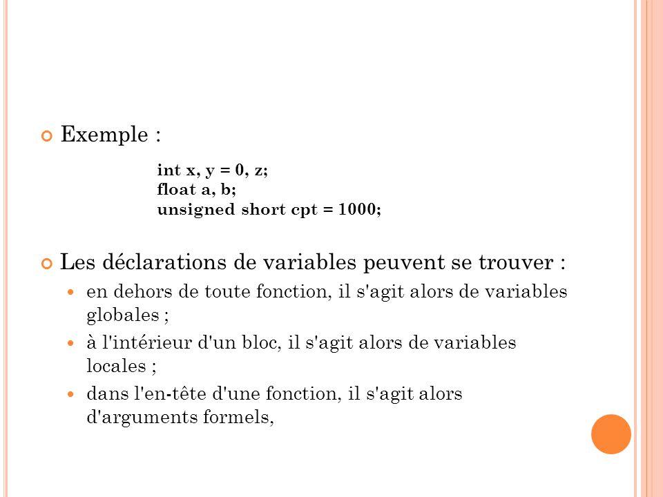 Les déclarations de variables peuvent se trouver :
