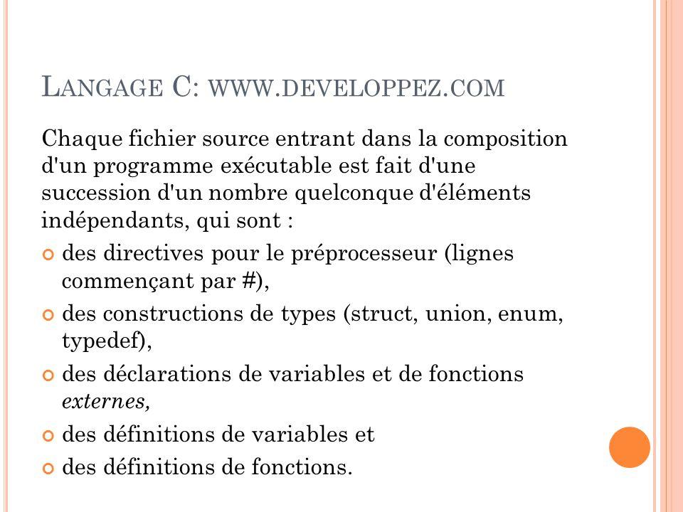 Langage C: www.developpez.com