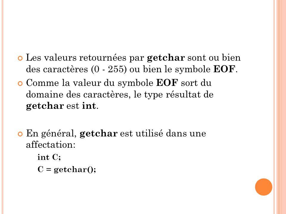 En général, getchar est utilisé dans une affectation: