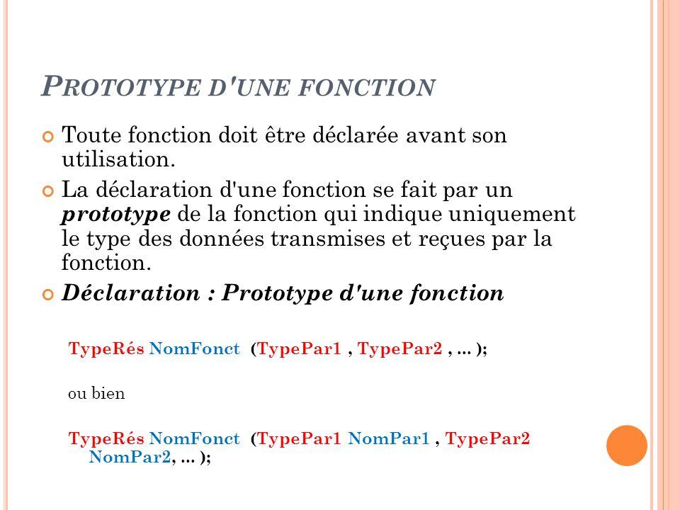 Prototype d une fonction