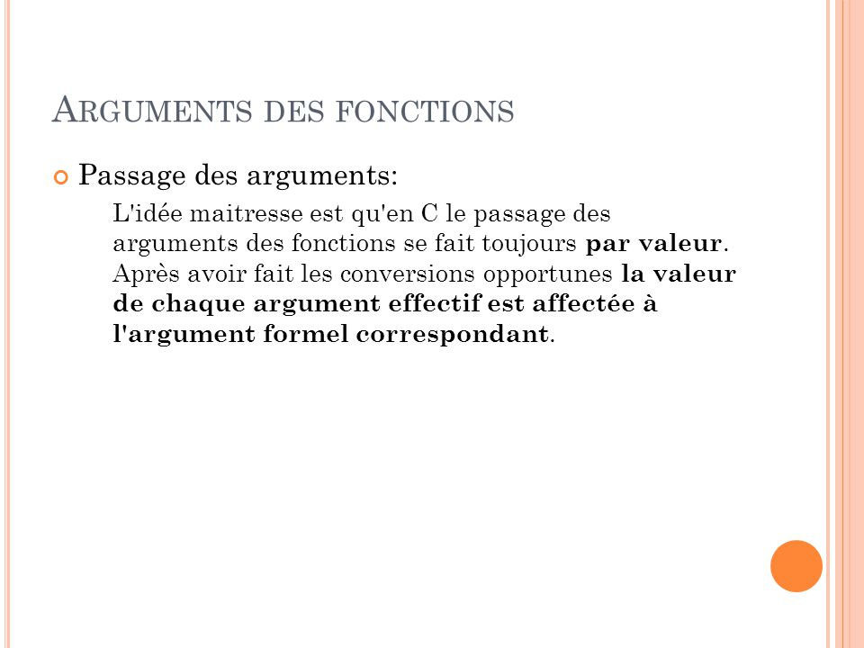 Arguments des fonctions