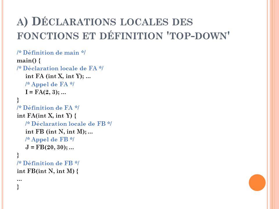 a) Déclarations locales des fonctions et définition top-down