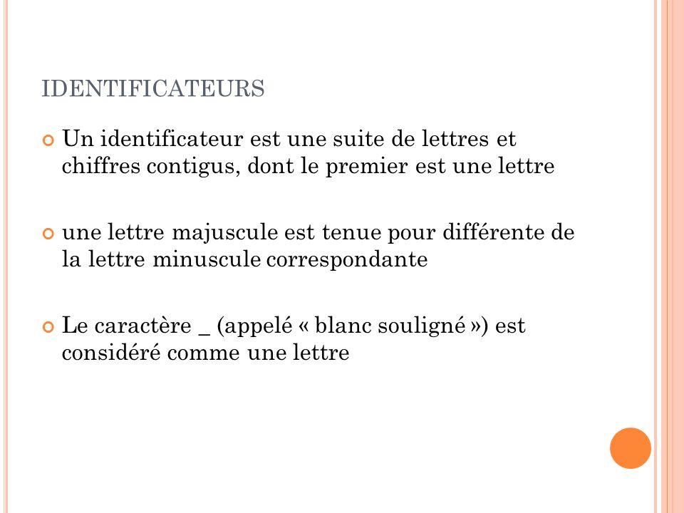 identificateurs Un identificateur est une suite de lettres et chiffres contigus, dont le premier est une lettre.