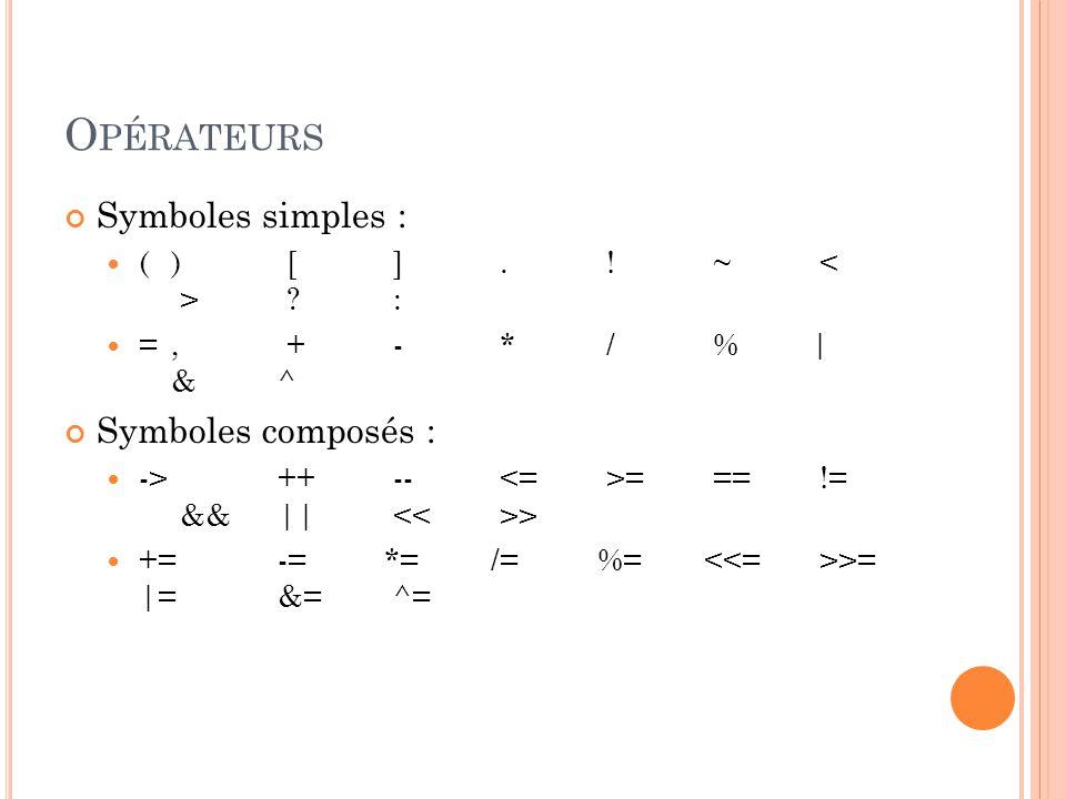 Opérateurs Symboles simples : Symboles composés :