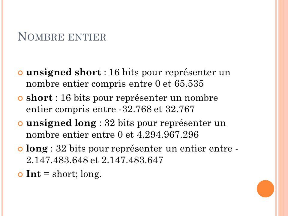 Nombre entier unsigned short : 16 bits pour représenter un nombre entier compris entre 0 et 65.535.