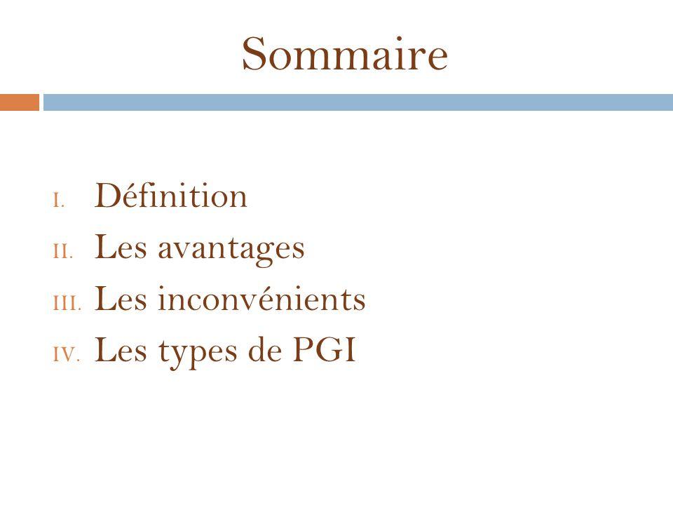 Sommaire Définition Les avantages Les inconvénients Les types de PGI