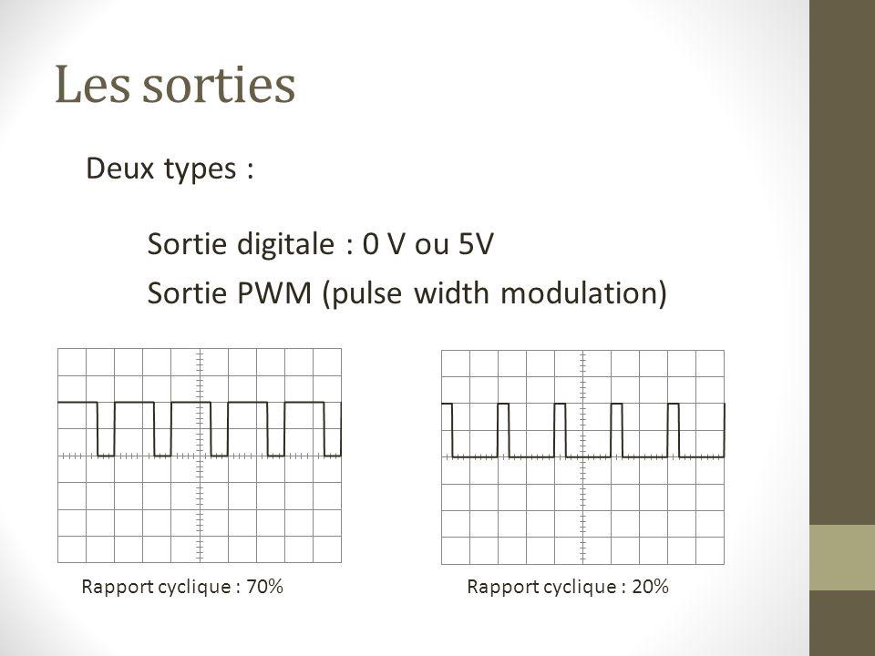 Les sorties Deux types : Sortie digitale : 0 V ou 5V